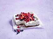 Ice-cream and berry slice