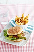 A mackerel burger with chips