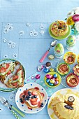Dishes for an Easter brunch on a table