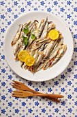 Anchovies with lemon slices on a plate