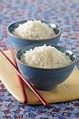 Cooked rice in Oriental bowls