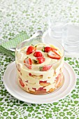 Vanilla cream trifle with strawberries