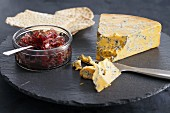 Shropshire Blue cheese with red onion chutney and crispbread