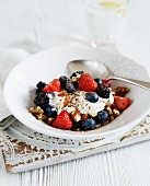 Natural yoghurt with berries and nuts