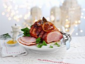 Glazed roast pork for Christmas dinner