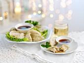Gyoza (stuffed Japanese dumplings) for Christmas
