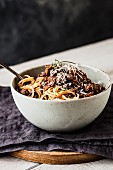 Spaghetti with a red wine and pork ragout