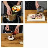 Sous-Vide gegartes Karpfenkotelett Blau mit Preisbeersahne zubereiten