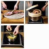 Kalbsfilet aus dem Heudampf mit Kartoffel-Zwiebel-Gulasch zubereiten