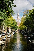 A view along the Groenburgwal-Gracht to the Zuiderkerk, Amsterdam, Netherlands