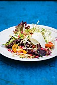 Spelt salad with pomegranate seeds, beetroot and goat's cheese