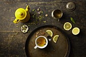 Herb tea, rock sugar and lemon