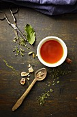 Herb tea with rock sugar and ingredients