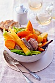 Pot au feu with beef and vegetables (France)