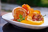 Chicken roulade with bacon and pumpkin