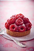 A raspberry tartlet and icing sugar