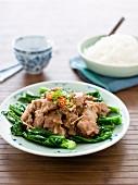 Steamed Pork Ribs with Stir-fried Gai Lan