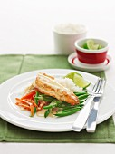 Pan-fried fish with thai curry sauce