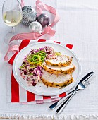 Roast turkey breast with cranberry slaw