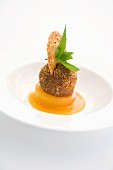 A quark dumpling on spiced apricots and apricot mousse