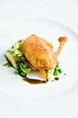 Roast chicken on cooked lettuce with pumpkin seed oil