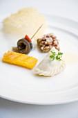 Gefüllte Kärntner Nudel, Polenta und Sardinenröllchen