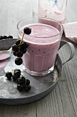 A kefir drink with blackcurrants