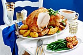 Roast turkey with bacon and herb