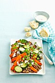 Warm roasted vegetable & lentil salad