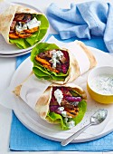 Barbecue veggie and lamb gyros
