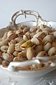 Pistachios in a porcelain bowl