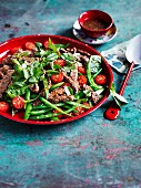 Grilled beef salad with chilli lime dressing