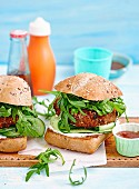 Curried pork and bean burger