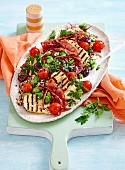 Ham, tomato and haloumi rice salad