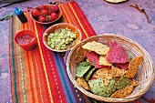 Colourful nachos, guacamole and strawberries with chocolate sauce