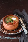 Lentil soup in a terracotta bowl
