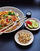 Pad Thai with vegetables, peanuts and lemon