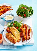 Cripsy Parmesan Chicken with Kumara Chips