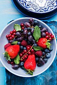 Fresh berries and grapes in a bowl