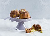 Mini marbled Bundt cakes with chocolate and pistachio nuts