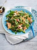 Salat aus Lachs, Edamame, Weizen, pink Grapefruit und Kräutern