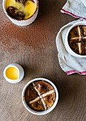 Hot cross bun chocolate pudding