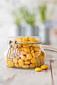A jar of sweet lupine beans