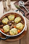 Meat stew with bread dumplings