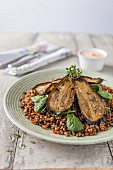 Wheat and berry salad with aubergine