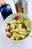Cucumber and celery salad with grape tomatoes