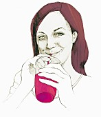 An illustration of a woman drinking a vitamin drink