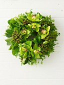 Christmas wreath with exotic flowers