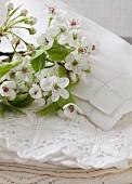 Apfelblüten auf weißem Leinen und Spitzendeckchen
