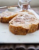 Toast with with butter and cinnamon sugar